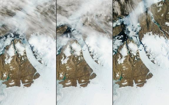 Petermann Buzulu, solda ve ortada 16 Temmuz 2012, sağda 17 Temmuz 2012